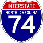Image of NC Interstate 74 route shield, from Shield's Up!
