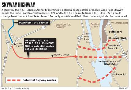 I 140 wilmington bypass image of map showing one of the proposed routes for the cape fear skyway bridge toll sciox Gallery